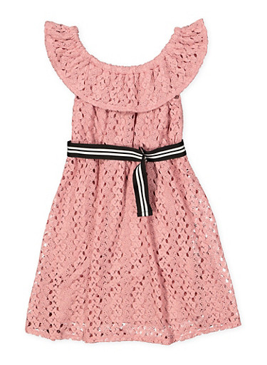 Girls 7-16 Belted Crochet Skater Dress,MAUVE,large