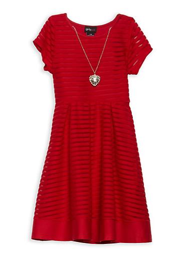 Girls 7-16 Shadow Stripe Skater Dress,RED,large