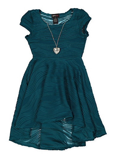Girls 7-16 Textured Knit Skater Dress with Necklace,TEAL,large