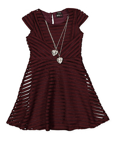 Girls 7-16 Shadow Stripe Skater Dress with Necklace,PURPLE,large