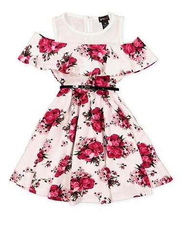 Girls 7-16 Mesh Yoke Floral Cold Shoulder Dress,IVORY,large