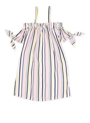 Girls 7-16 Striped Tie Sleeve Off the Shoulder Dress,PINK,large