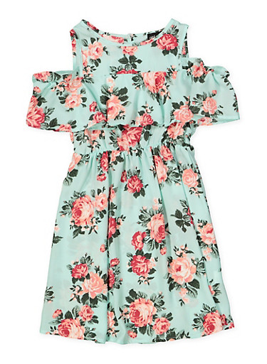 Girls 7-16 Printed Ruffle Cold Shoulder Dress,MINT,large