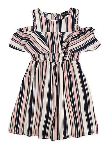 Girls 7-16 Printed Ruffle Cold Shoulder Dress,MAUVE,large