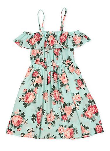Girls 7-16 Striped 2 Pocket Off the Shoulder Dress,MINT,large