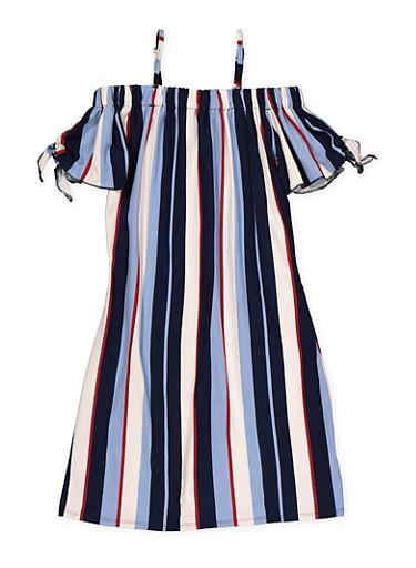 Girls 7-16 Striped off the Shoulder Shift Dress,WINE,large