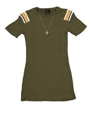 Girls 7-16 T Shirt Dress with Necklace,OLIVE,large