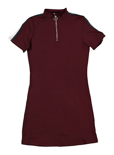 Girls 7-16 Half Zip Soft Knit Dress,PURPLE,large