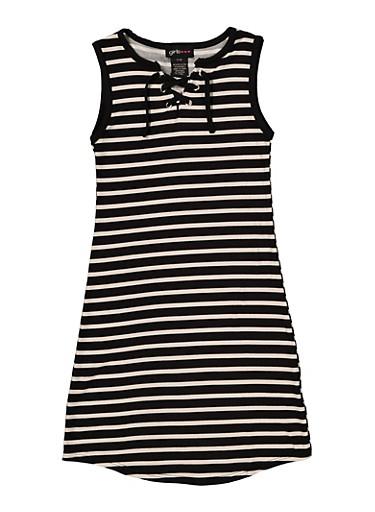 Girls 7-16 Striped Lace Up Tank Dress,BLACK/WHITE,large