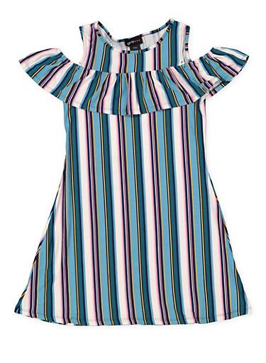 Girls 7-16 Striped Cold Shoulder Dress,TEAL,large