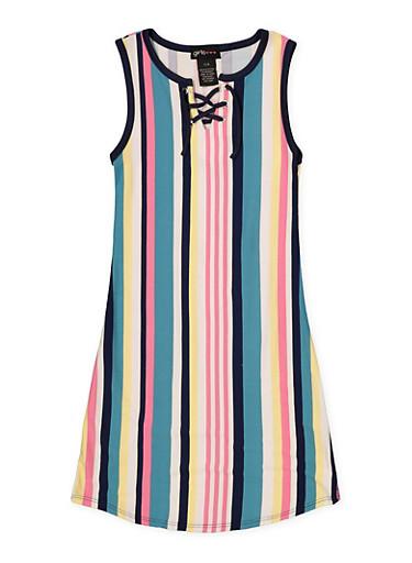 Girls 7-16 Sleeveless Striped Lace Up Tank Dress,MINT,large