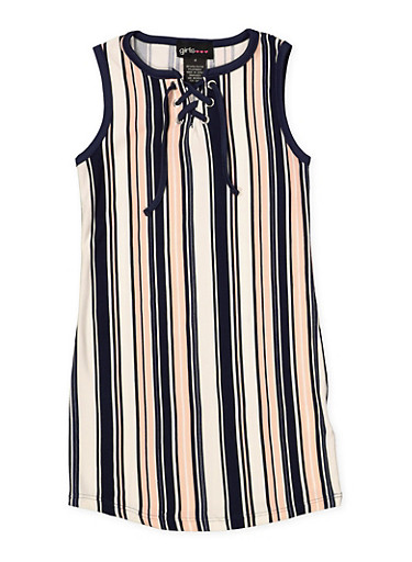 Girls 7-16 Striped Soft Knit Lace Up Tank Dress,NAVY,large