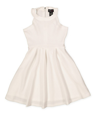 Girls 7-16 Textured Knit Skater Dress,IVORY,large