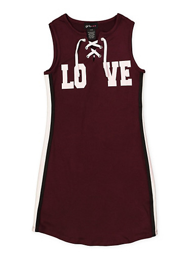 Girls 7-16 Lace Up Love Tank Dress,PURPLE,large