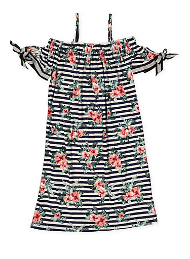 Girls 7-16 Off the Shoulder Floral Dress,NAVY,large