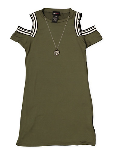 Girls 7-16 Cold Shoulder Dress with Necklace,OLIVE,large