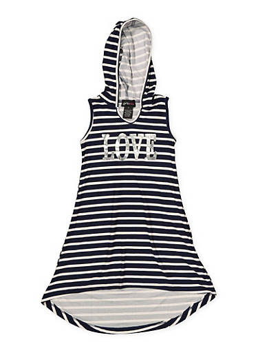 Girls 7-16 Striped Foil Graphic High Low Dress,NAVY,large
