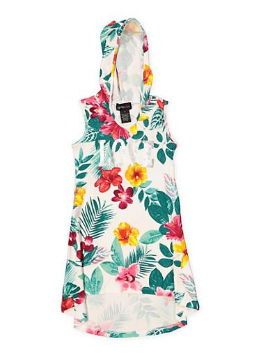 Girls 7-16 Floral Foil Print Hooded Dress,IVORY,large