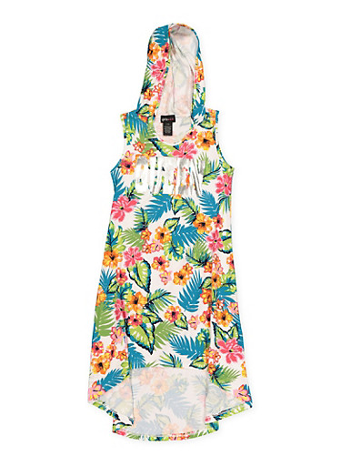 Girls 7-16 Hooded Love Floral High Low Dress,TURQUOISE,large