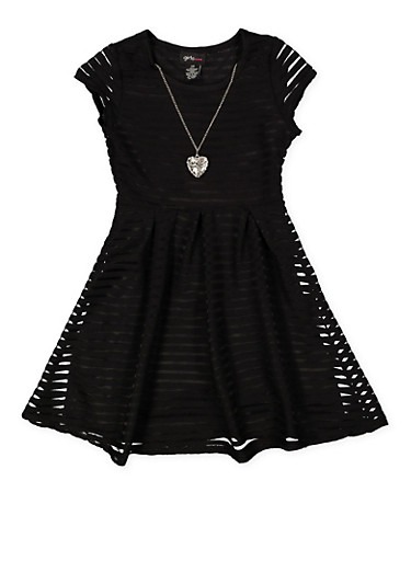 Girls 7-16 Shadow Stripe Skater Dress with Necklace,BLACK,large