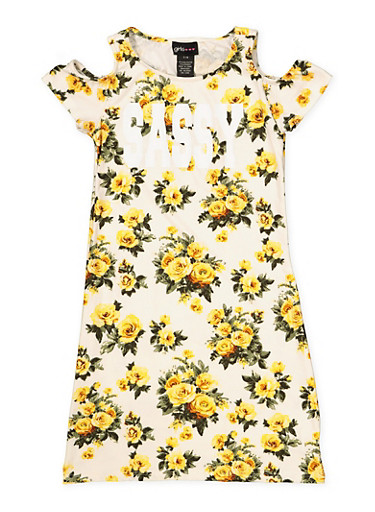 Girls 7-16 Queen Cold Shoulder Floral Dress,IVORY,large