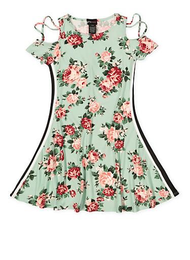 Girls 7-16 Floral Cold Shoulder Tape Trim Dress,MINT,large