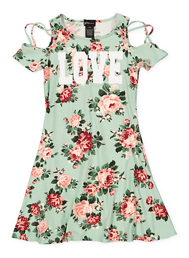 Girls 7-16 Love Floral Cold Shoulder Dress,MINT,large
