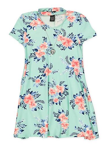 Girls 7-16 Keyhole Floral Dress,MINT,large