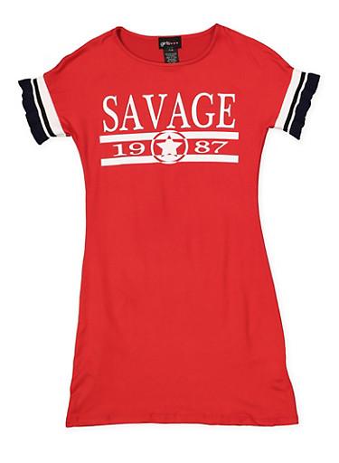Girls 7-16 Graphic Knit Trim T Shirt Dress,RED,large