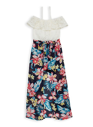 Girls 7-16 Floral Lace Maxi Romper,NAVY,large
