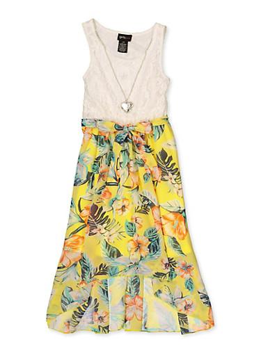 Girls 7-16 Floral High Low Skater Dress,IVORY,large