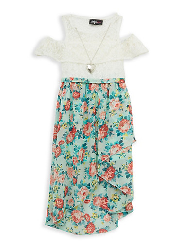 Girls 7-16 Lace Floral Skater Dress with Necklace,IVORY,large