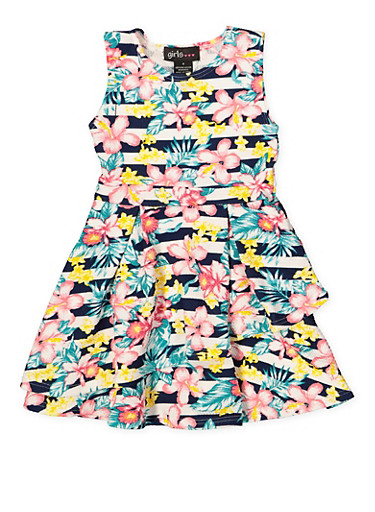 Girls 7-16 Floral Striped Skater Dress,MULTI COLOR,large
