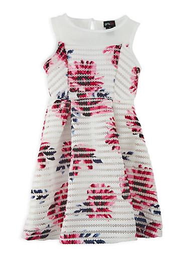 Girls 7-16 Floral Shadow Stripe Skater Dress,IVORY,large