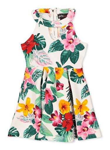Girls 7-16 Tropical Print Skater Dress,IVORY,large