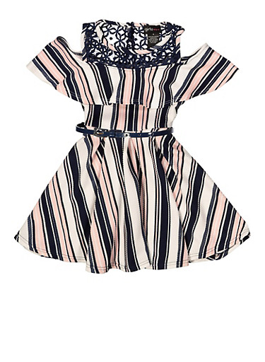 Girls 7-16 Striped Belted Skater Dress,NAVY,large