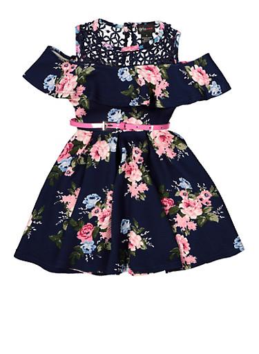 Girls 7-16 Belted Crochet Yoke Floral Dress,NAVY,large