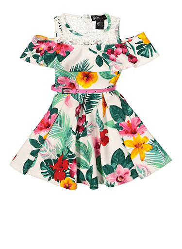 Girls 7-16 Floral Belted Skater Dress,IVORY,large