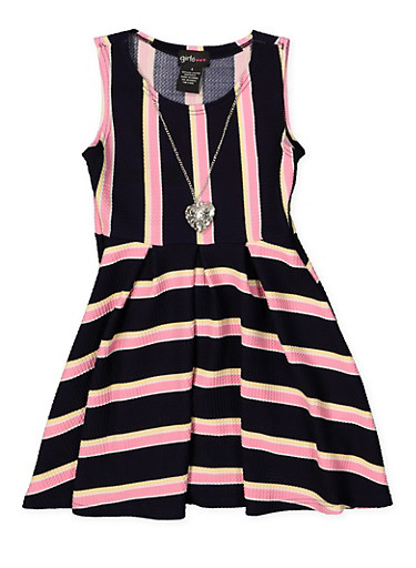 Girls 7-16 Striped Textured Knit Skater Dress with Necklace,NAVY,large