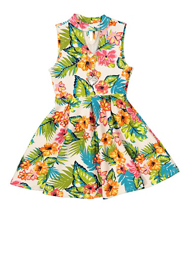 Girls 7-16 Pleated Floral Skater Dress with Necklace,TURQUOISE,large