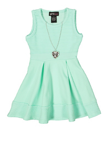 Girls 7-16 Textured Knit Dress with Necklace,MINT,large
