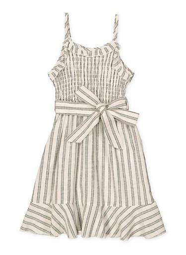 Girls 7-16 Striped Linen Dress,BLACK/WHITE,large