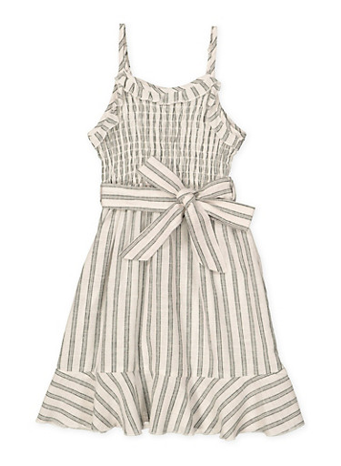 Girls 7-16 Striped Tie Waist Linen Dress,BLACK/WHITE,large