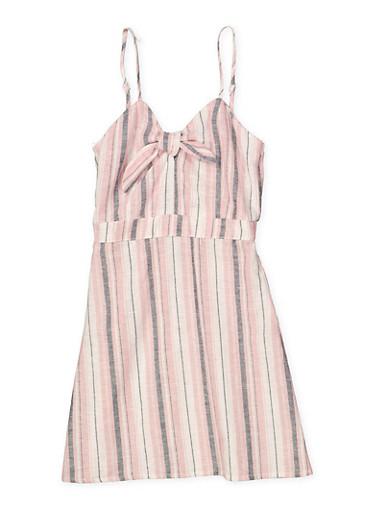 Girls 7-16 Striped Linen Dress,MAUVE,large