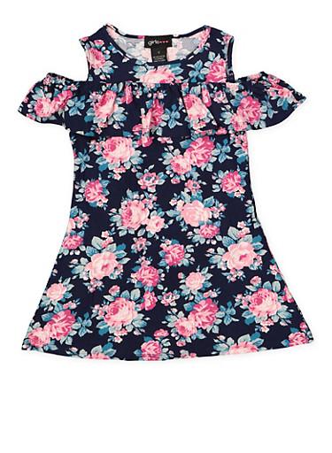 Girls 7-16 Floral Cold Shoulder Shift Dress | 1615051060475,NAVY,large