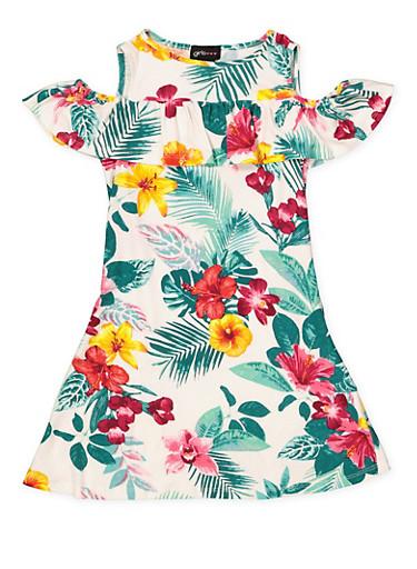 Girls 7-16 Cold Shoulder Floral Dress,WHITE,large