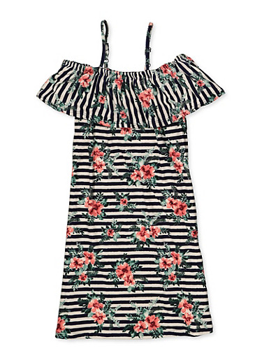 Girls 7-16 Floral Ruffle Shift Dress,WHITE,large