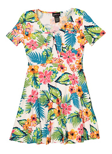 Girls 7-16 Tie Neck Floral Skater Dress,IVORY,large