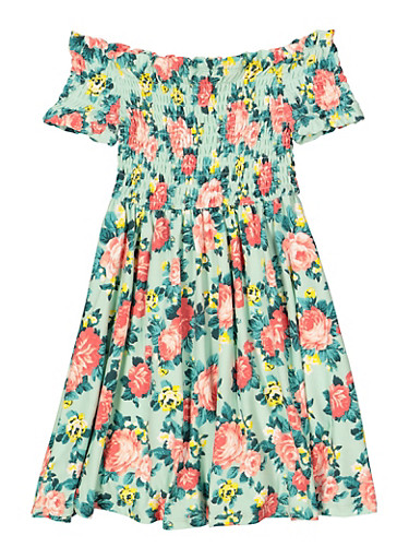 Girls 7-16 Smocked Floral Off the Shoulder Dress,MINT,large