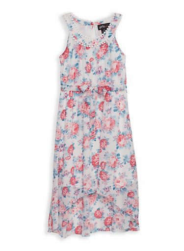 Girls 7-16 Tie Waist Floral High Low Dress,WHITE,large